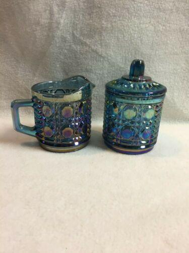 Vintage Indiana Glass-Carnival/Iridescent Blue Windsor-Creamer/Lidded Sugar Bowl