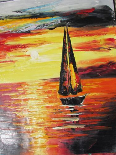 abstract+red+boats+ships+large+oil+painting+sea+ocean+fishing+sailing+original
