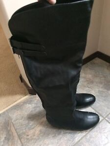 Wide calf size 9 black boots (never worn)