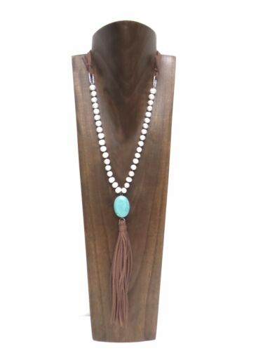 20 inches High Walnut Color Wood Necklace Display
