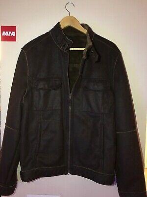 Vintage ZARA MAN Full Zip Jacket Sz Large Polyester Aviator Bomber Brown Patina