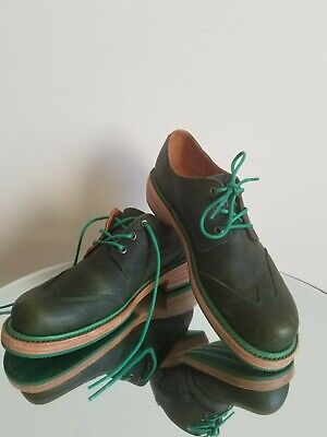 John Fluevog Classic Men's Leather Green Oxford Wing Top Boots Size 9 D