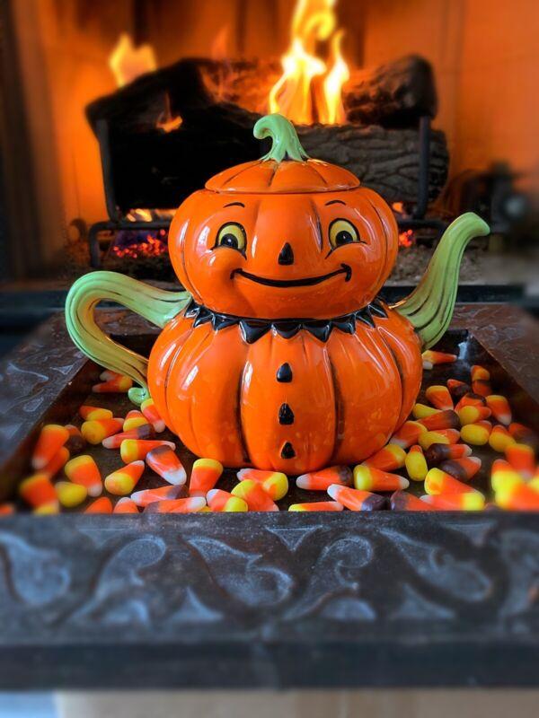 Johanna Parker Teapot Jack O Lantern, Pumpkin Halloween Teapot Vtg Halloween