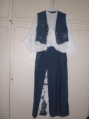 Dopino R.S Jeans Kostüm mit Rüschen,Trachten,3 Teile, Maxirock,Bluse,Weste,Gr.S - Rüschen Rock Kostüm