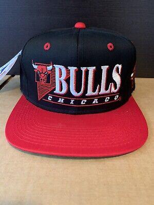 Vintage 90s Chicago Bulls Bars Lined Younga AJD Black Snapback Hat