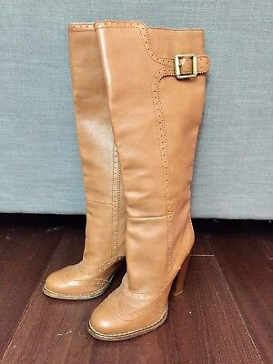 NEW Dolce & Gabbana Knee High Honey Brown Camel Leather Boots $1000 40 9 9.5
