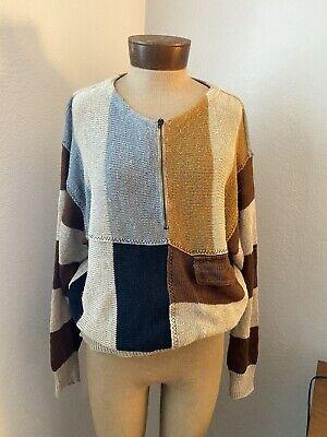 vtg 70s JC De CASTELBAJAC Iceberg LINEN knit sweater PULLOVER patchwork sz S M