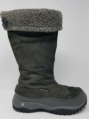 Baffin Allie Womens Waterproof Snow Boot Size 7 Grey Leather Zip Up ()