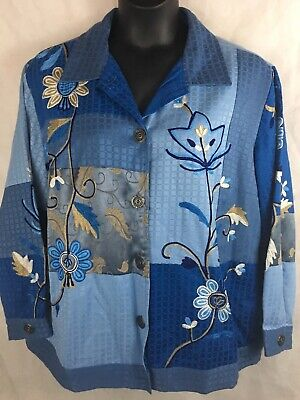 Indigo Moon Patch Work Button up Jacket Size 2X Embroidered QVC Floral (Indigo Patch)