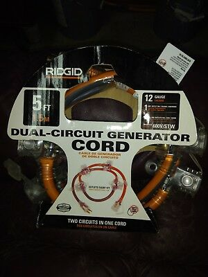 Ridgid 5 Ft. 124 In-line Multi-outlet Generator Cord 615-16456hdr