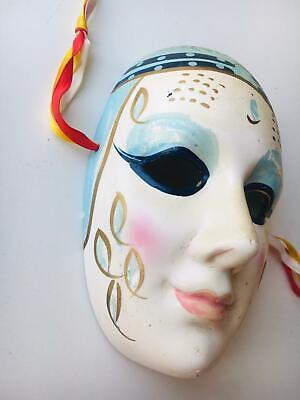 Hand Painted Vintage Masque Mask Face Head Figurine Wallhanging Porcelain TAIWAN