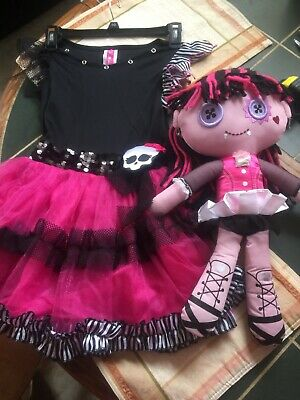 """Cool Monster Costumes (Super Cool, Size 10, Girls """"Monster High"""" Dress W/ 18"""" Matching Plush Doll)"""