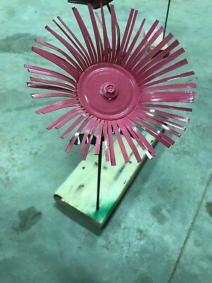All metal pink flower garden stake yard art