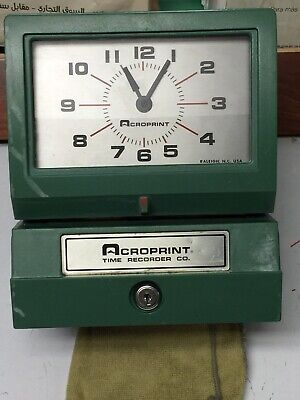 Vintage Acroprint 150nr4 Electric Time-clock Print Time Recorder. Card Slot