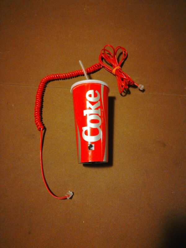 Coke Coca Cola Telephone Push Button Phone Dial Landline To Go Cup Straw 6910