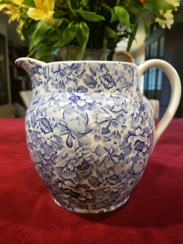 Laura Ashley Palace Gardens Blue White Floral Chintz Pitcher Jug England