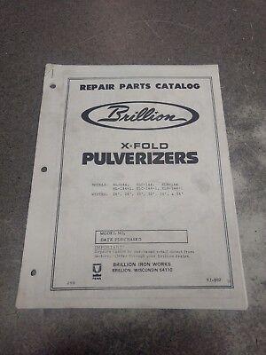 Brillion X-fold Pulverizers Parts Manual 5j802