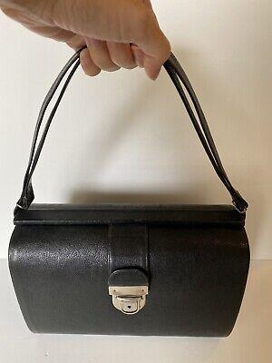 1940s Handbags and Purses History Vintage 1940s Antique Leather Cartner Doctors Case/Bag Black Hardcase 40s VTG $126.22 AT vintagedancer.com