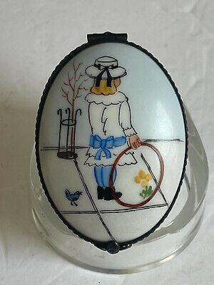 c1984 BETTY ST JOHN Painted Rochard LIMOGES Porcelain Trinket Box GIRL WITH HOOP