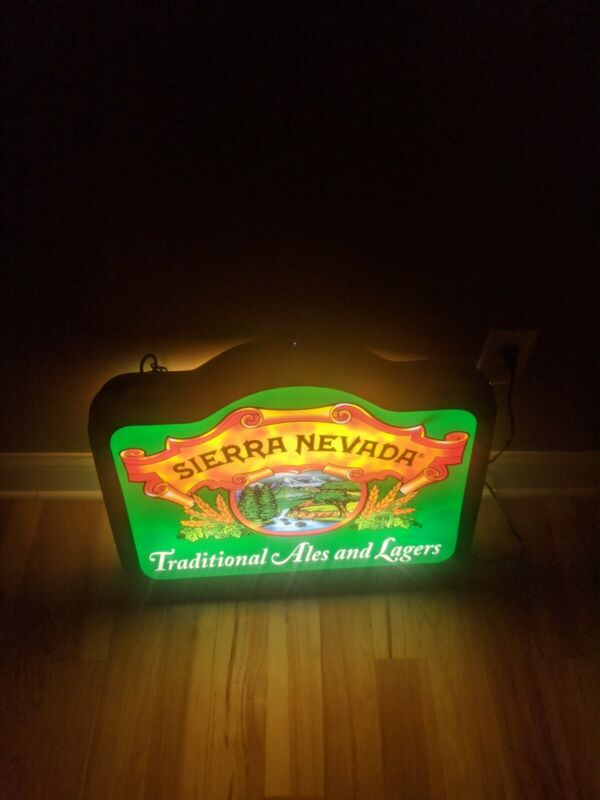 Rare Sierra Nevada Brewing Beer Lighted Double Sided Hanging Sign Light