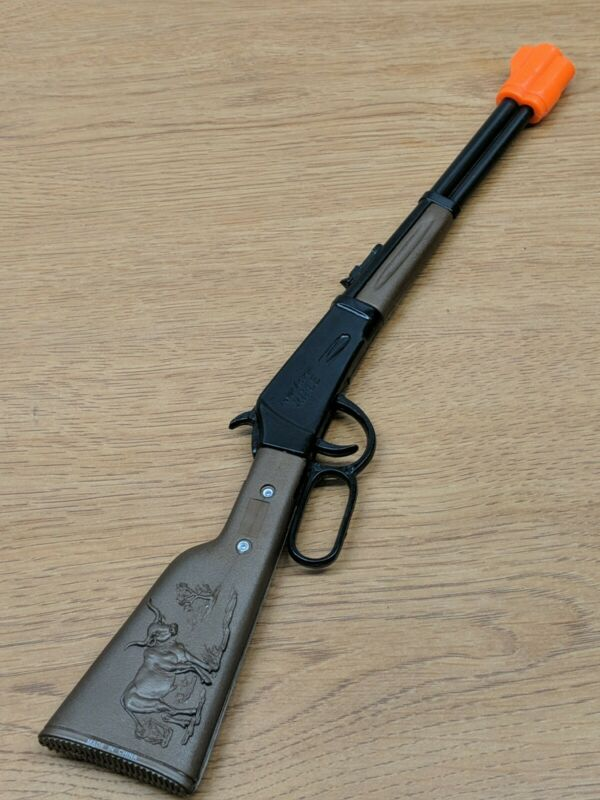 "NEW!! 11"" MINI Lever Action Toy Rifle Cowboy Horse Bull Metal Plastic CAP GUN"