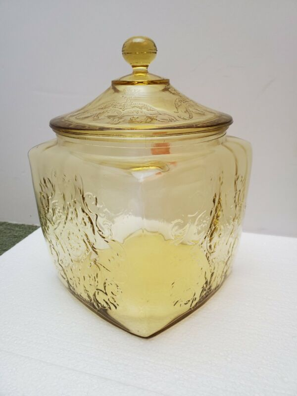 Vintage Federal Glass Yellow/Amber Depression Cookie Jar Madrid Pattern W/Lid