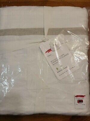 Pottery Barn Full Belgian Flax Linen Contrast Flange Bed Skirt White NWT
