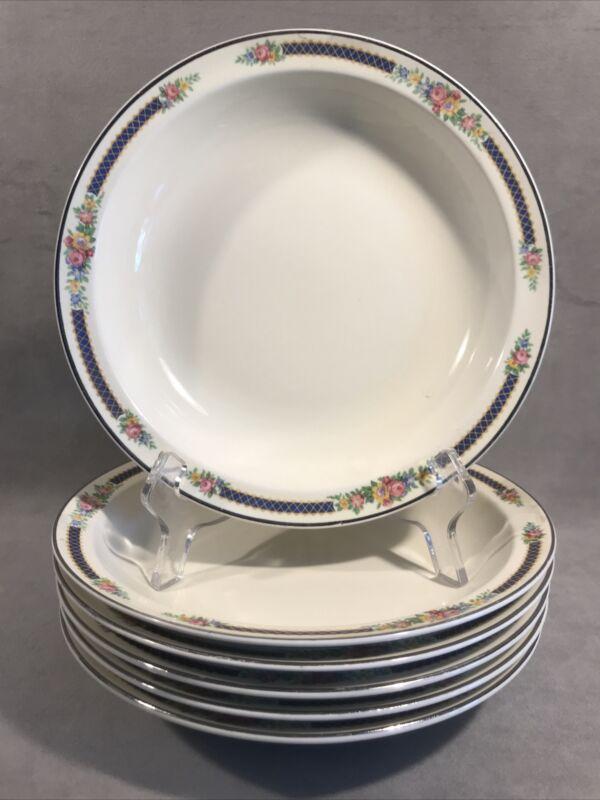 """PV05389 Vintage Hall Superior BLUE BOUQUET - 8"""" Rim Soup Bowl- 6 pcs"""