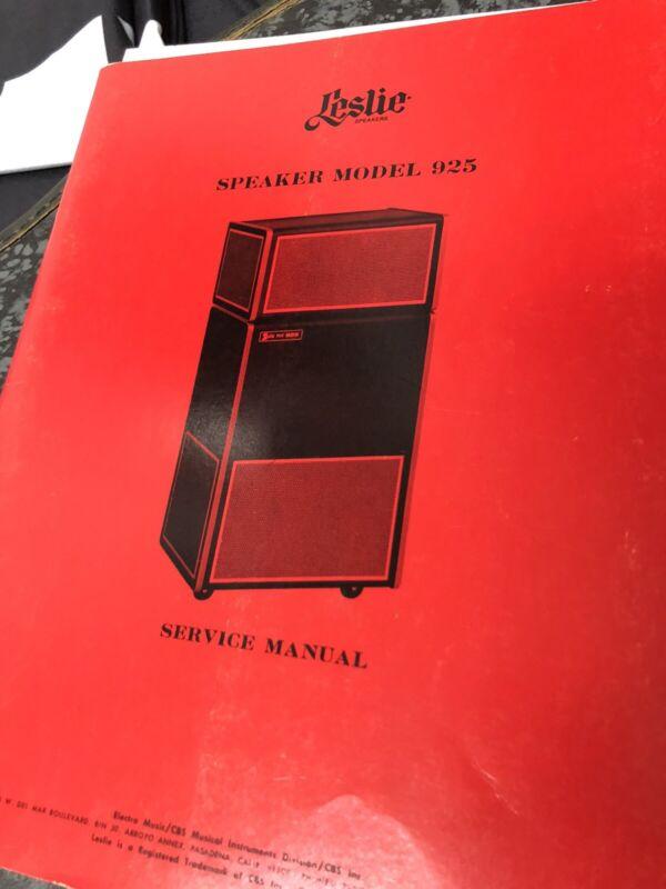 Vintage 1976 Leslie Organ Speaker Model 925 Service Manual