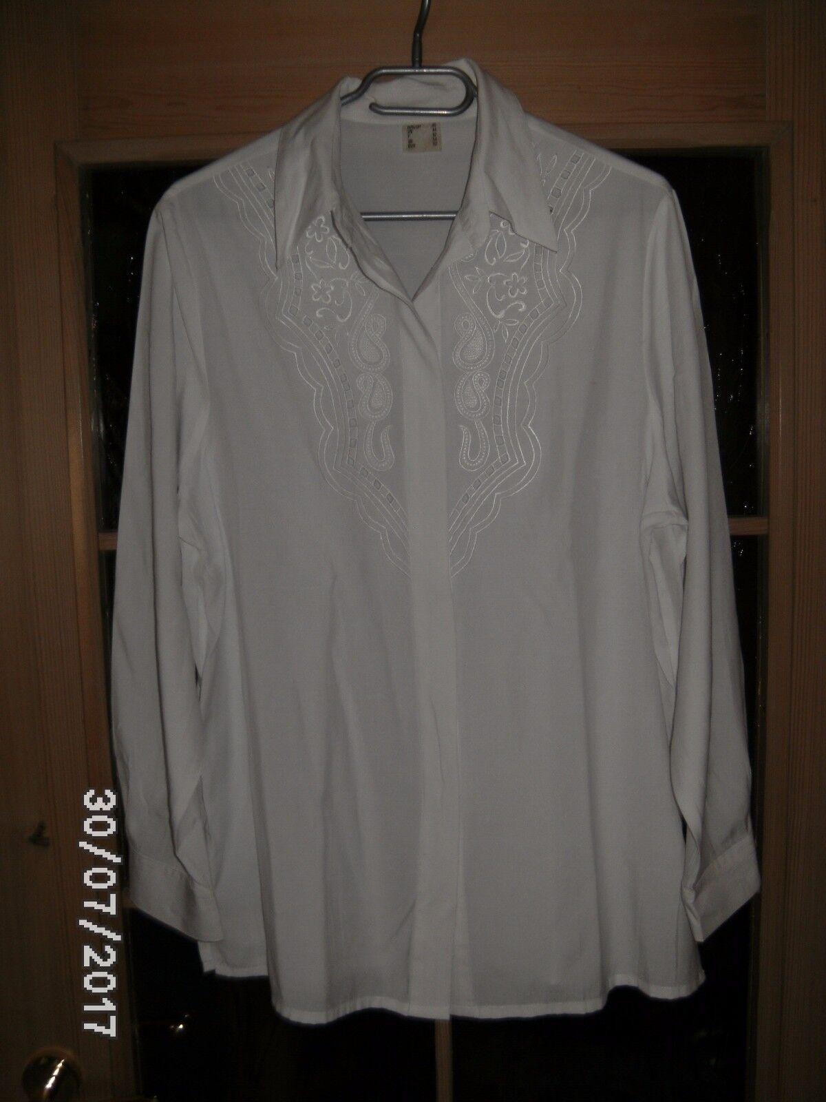 Bluse elegant langarm weiß mit Stickerei für Damen Gr. 38