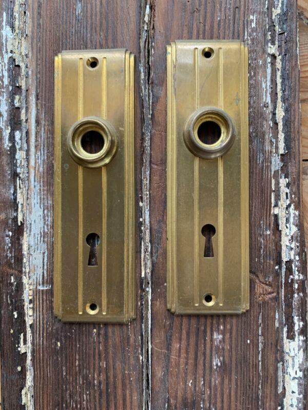 Pr Antique Brass Art Deco Door Backplates