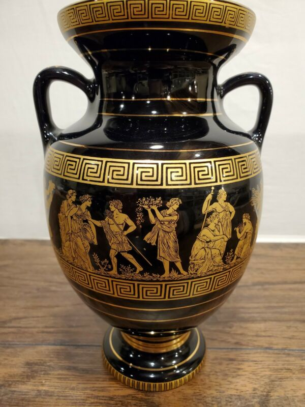 I.Spyropoulos Hand Made Greece 24K Gold Black Vintage Vase Greek Mythology