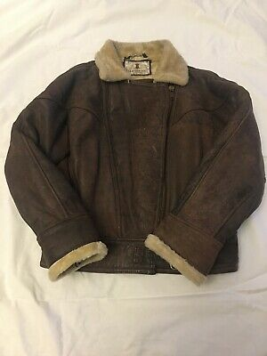"LEATHERTEX Vintage Brown Leather Flying Aviator Jacket Mens Medium 43"" Chest"