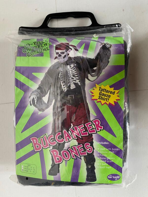 large  Youth size 12-14 Buccaneer bones Pirate Skeleton Halloween Costume