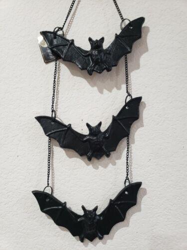"Halloween Gothic Cast Iron Metal Bat Wall Sign Decor 12"""