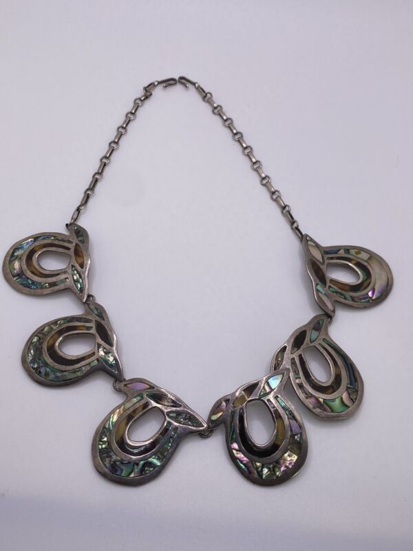 BETO TAXCO CAO Sterling Silver Abalone Shell Inlay Bib Necklace Mexico