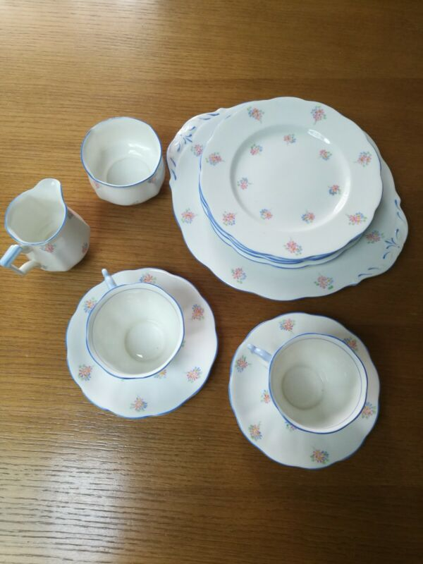 2 Person Tea Set Lot Bell China - Creamer, Sugar, Plates, Tray, Cups & Saucers