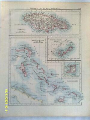 Double-sidedAntique Map. JAMAICA / CUBA. W & A K Johnston. 1895. VG.