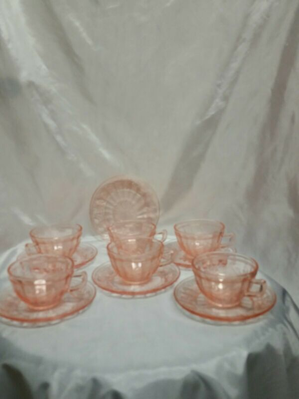 Jeannette Sunflower Pink Depression Glass 6Tea Cups 6 Saucers 1930-1935