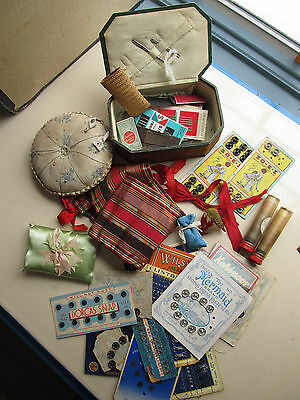 Antique Vintage Victorian Edwardian Sewing LOT Pin Cushions Wicker