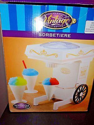 Nostalgia Electric Vintage Sorbetiere Snow Cone Ice Machine Snow Shaver New Box