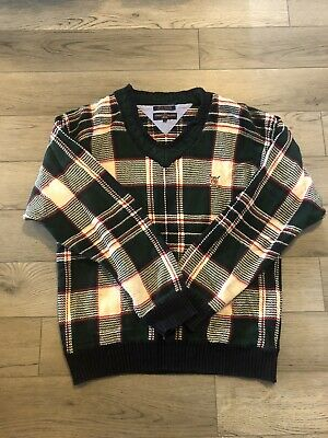 Men's Vintage Tommy Hilfiger Golf Crest Plaid Vest Multi Color Sweater Size Xl