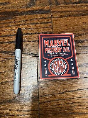 "MARVEL MYSTERY OIL Vintage Looking Sign Racing Vinyl Sticker 3"" X 3.81"""