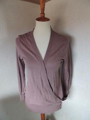 Women's ANN TAYLOR Wrap Thin Knit Sweater Cotton Pale Pink Purple Medium  ()