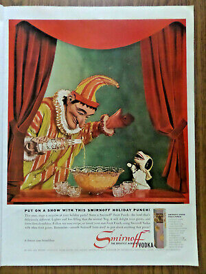 1960 Smirnoff Vodka Ad Put on a Show Puppet Smirnoff Holiday Punch