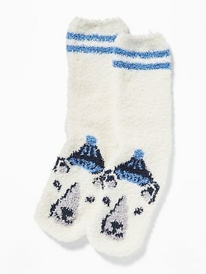 OLD NAVY Cozy Polar Bear Socks Adult Size Female and Male Warm NEW Blue & White (Female Polar Bear)