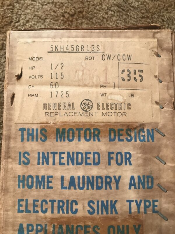 New GE General Electric Motor 1/2 HP Vintage NOS Sealed. 5KH45GR13S.