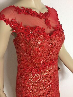 Eng anliegend bodenlang Clarification in the Box Abendkleid Ballkleid M rot gold NEU