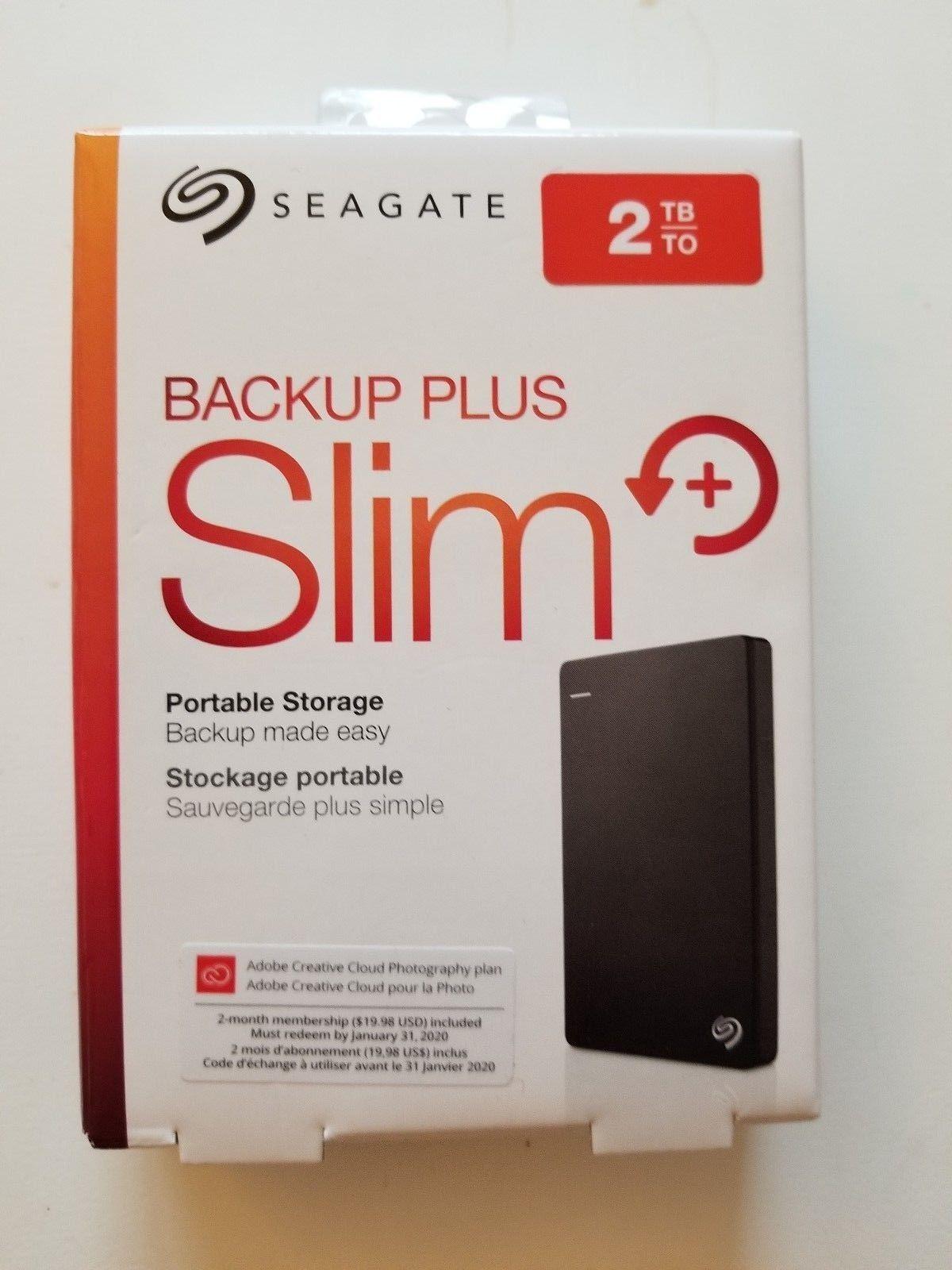 Seagate Backup Plus Slim 2TB Portable USB 3.0 External Hard Drive STDR2000100