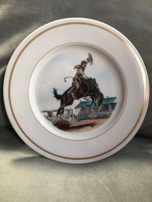 """Vintage """"Rodeo"""" Dinner Plate, Delano Studios- Sam Savitt Original, NY - 10 3/4"""""""